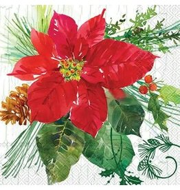 Boston International Holiday Cocktail Napkin, Poinsettia Crackle DISC