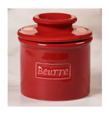 Butter Bell Butter Crock, Cafe Retro Red