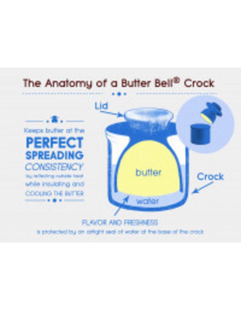 Butter Bell Butter Crock, Cafe Retro Cobalt Blue