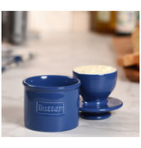Butter Bell Butter Crock, Cafe Retro Royal Blue