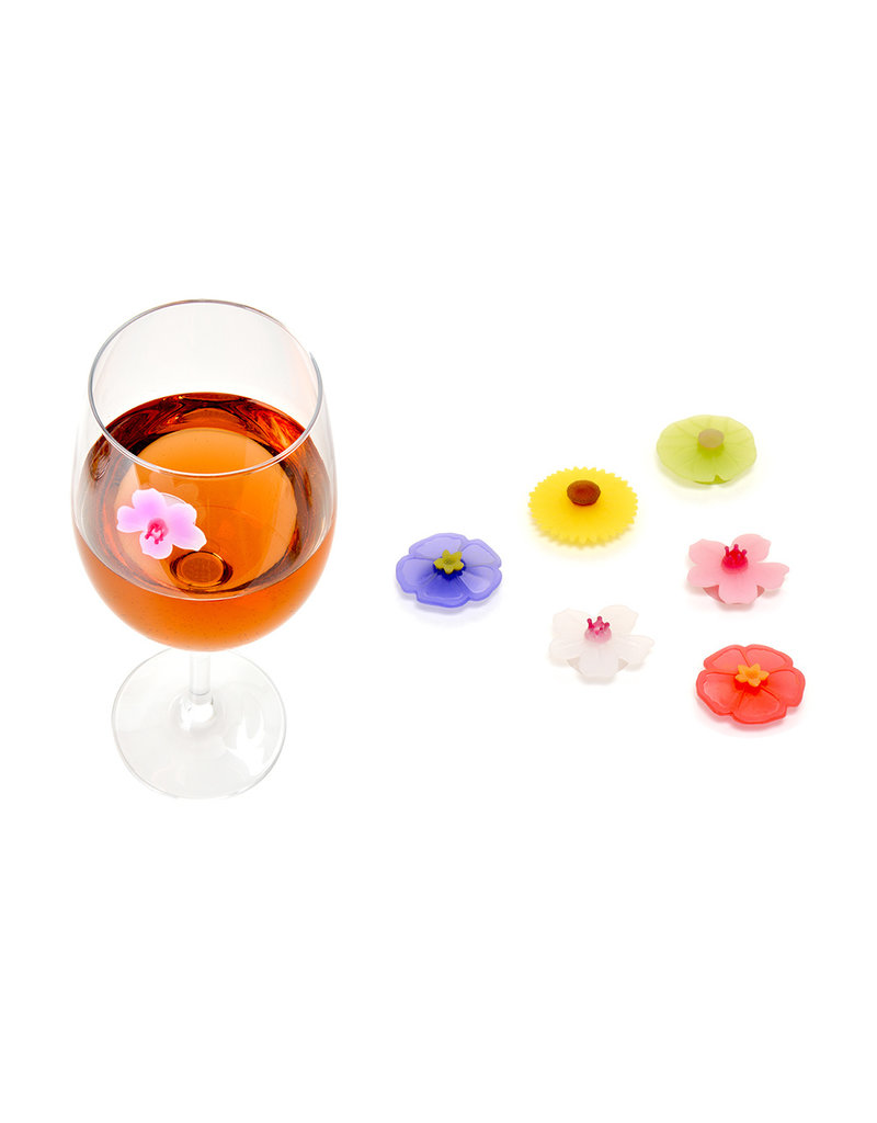 Charles Viancin Floral Suction Drink Markers, Silicone Set of 6