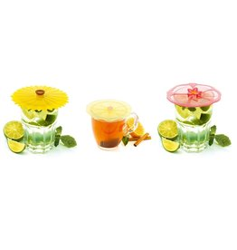 Charles Viancin Floral Drink Cover, Silicone, Set of 2
