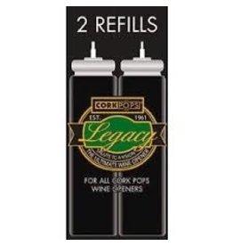 Cork Pops Legacy Pressure Corkscrew Wine Opener Cartridge Refills Set of 2