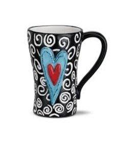 Demdaco Heartful Home Mug - White Swirls Heart 15oz