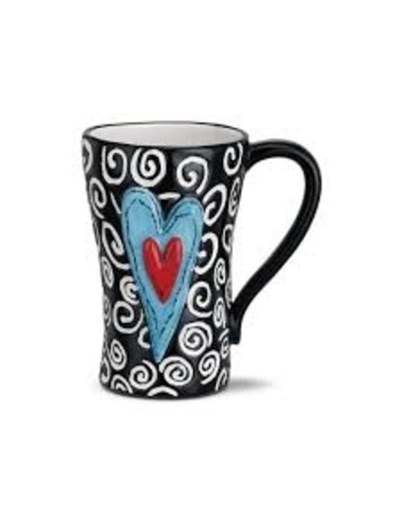 Demdaco Heartful Home Mug, White Swirls 15oz