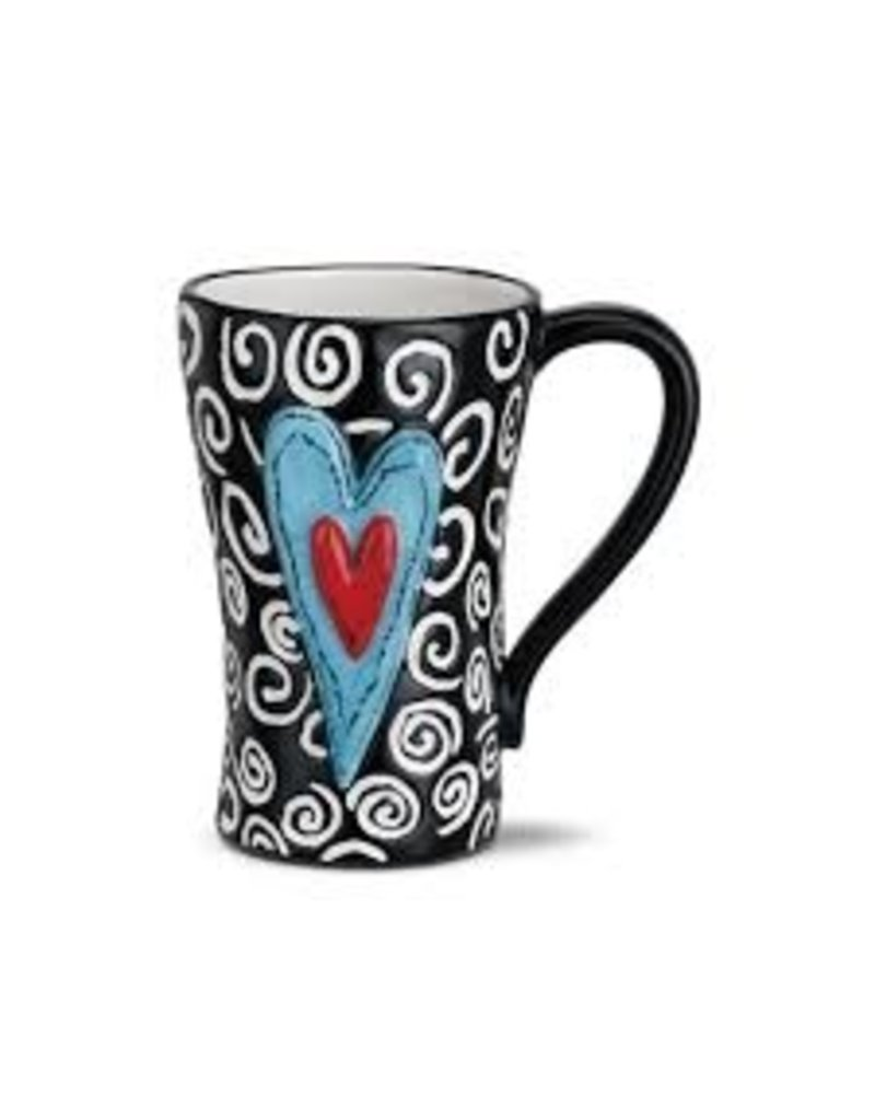 Demdaco Heartful Home Mug - White Swirls Heart 15oz