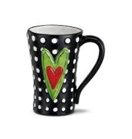 Demdaco Heartful Home Mug - White Dots Heart 15oz