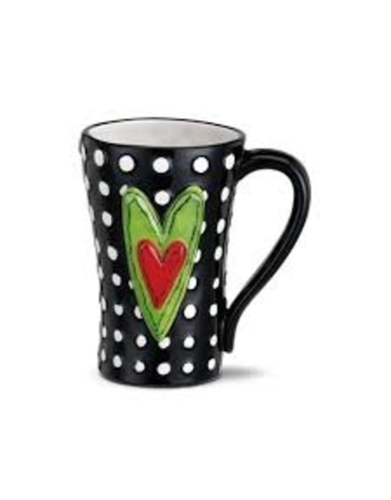 Demdaco Heartful Home Mug, White Dots 15oz