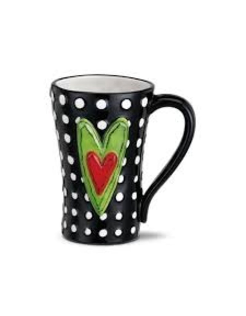 Demdaco Heartful Home Mug - White Dots Heart 15oz