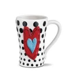 Demdaco Heartful Home Mug - Black Dots Heart 15oz