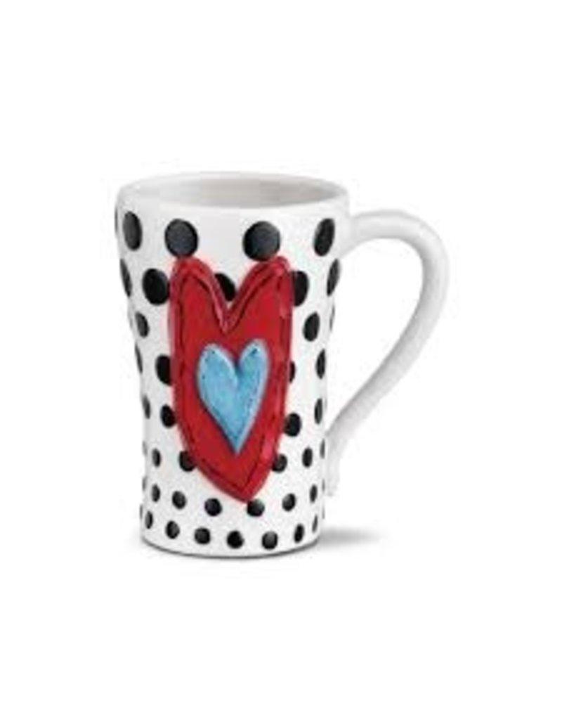 Demdaco Heartful Home Mug - Black Dots Heart 15oz