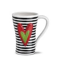 Demdaco Heartful Home Mug - Black Stripes Heart 15oz
