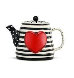 Demdaco Heartful Home Teapot, Wide Black Stripe