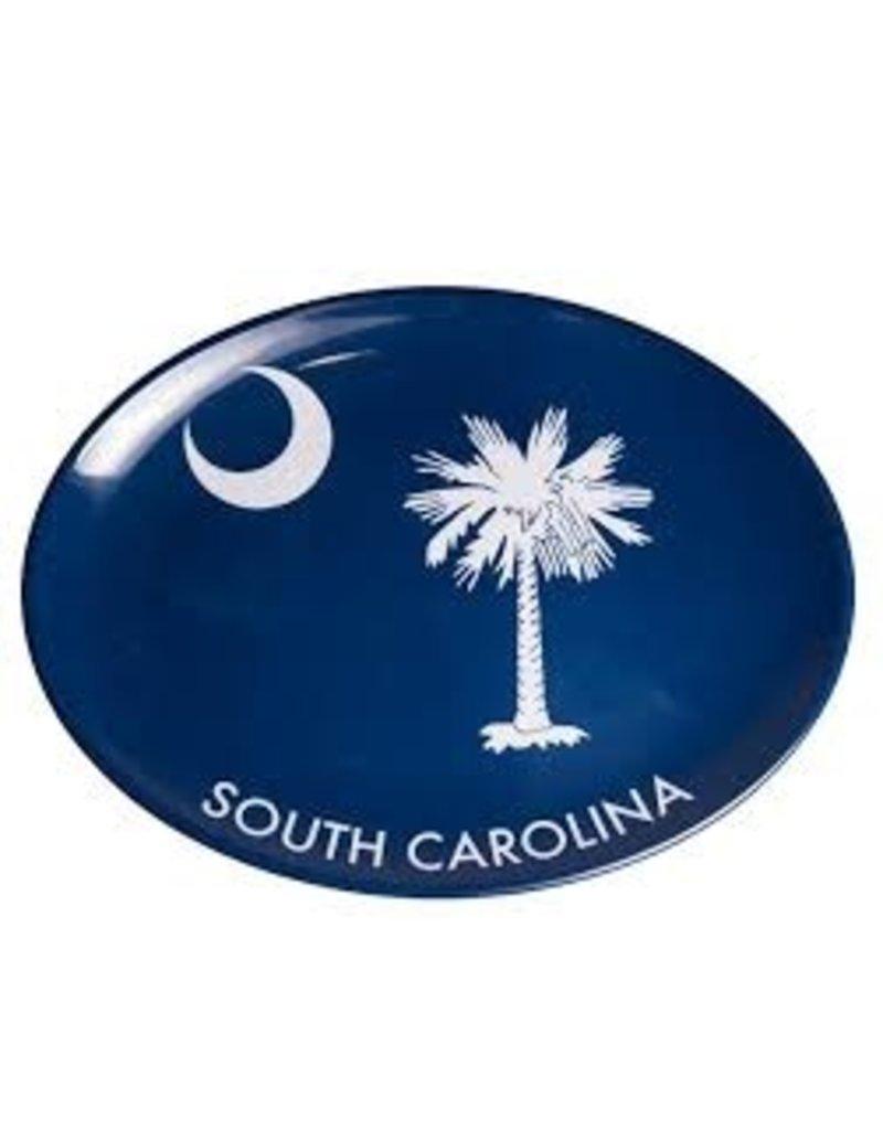 GalleyWare Melamine Oval Platter, Blue Palmetto 16''