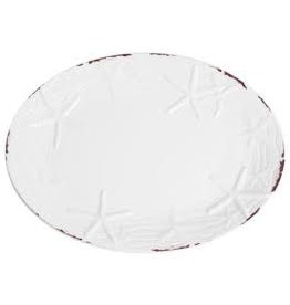 GalleyWare Melamine Oval Platter, White Raised Starfish  16''