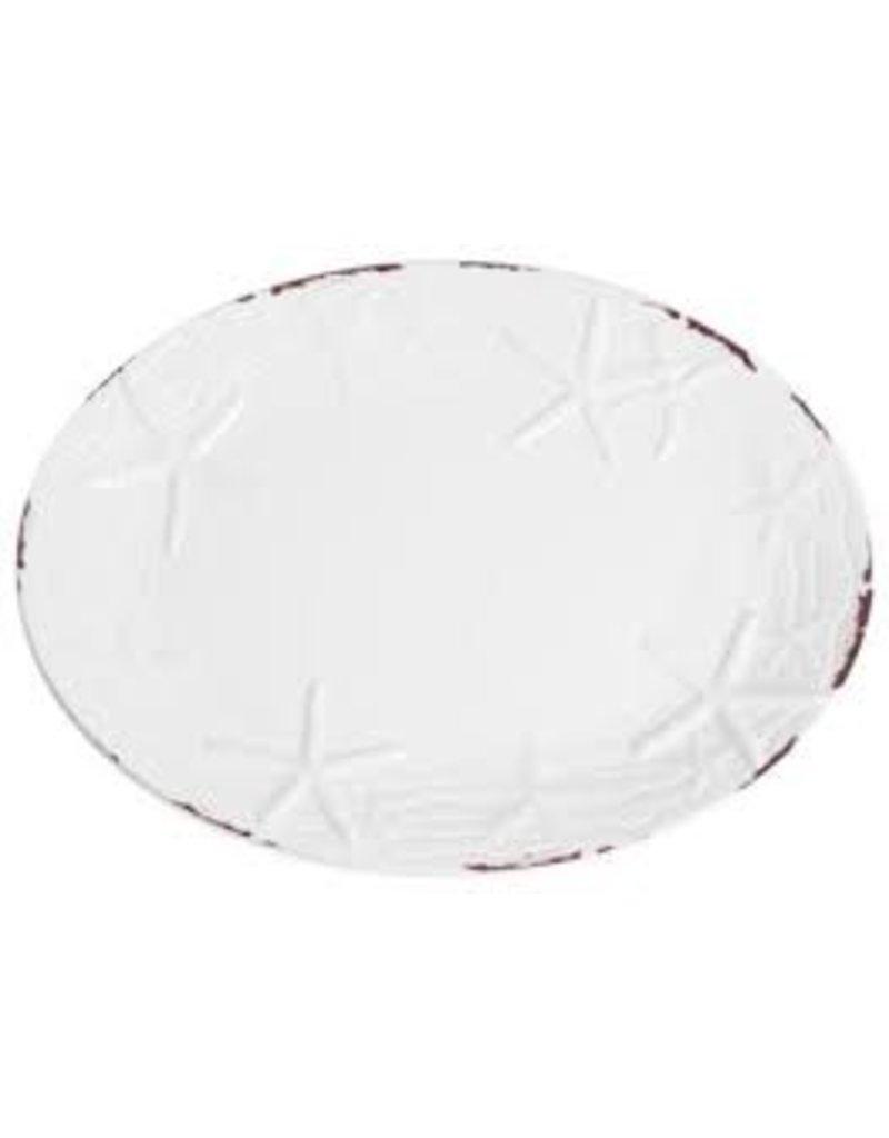 GalleyWare Melamine Oval Platter, White Raised Starfish  16''