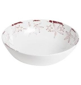 GalleyWare Melamine Serving Bowl, White Raised Starfish  11'' disc