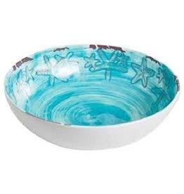 GalleyWare Melamine Serving Bowl, Turquoise Raised Starfish  11''