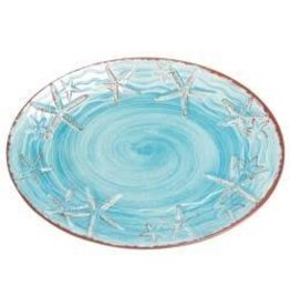 GalleyWare Melamine Oval Platter, Turquoise Raised Starfish 16''