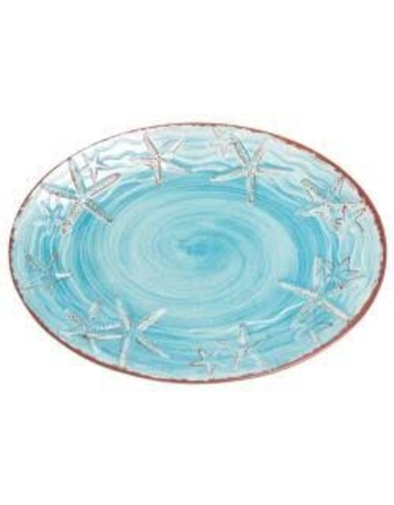 GalleyWare Melamine Oval Platter, Turquoise Raised Starfish 16''