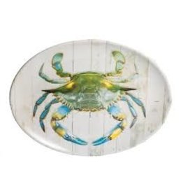 GalleyWare Melamine Oval Platter, Blue Crab 16''
