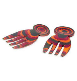 "Island Bamboo/Wilshire Rainbow Pakkawood 5"" Salad Hands"
