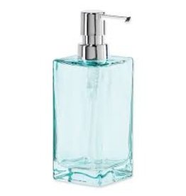 Oggi Tall Glass Soap/Lotion Dispenser Pump, Aqua (7'' H, 13OZ)