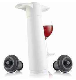VacuVin Wine Saver Bottle Stopper White - 1 pump 2 stoppers