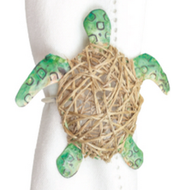 C and F Home Napkin Ring Green Wrapped Sea Turtle