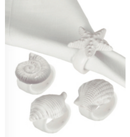 C and F Home Napkin Rings White Shell, Single