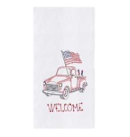 C and F Home Patriotic Towel Red Truck, floursack