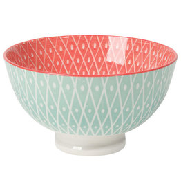 "Now Designs Stamped Bowl 4"" Lt Blue Geo - Pink, Blue"