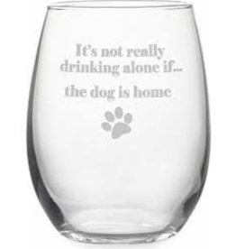 Drinking Alone Dog Stemless Glass Wine, 21oz, SINGLE