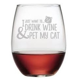 Pet My Cat Stemless Glass Wine, 21oz, SINGLE