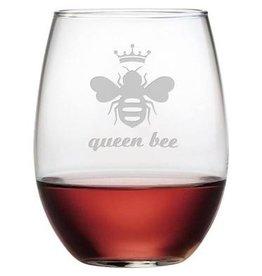Queen Bee Stemless Glass Wine, 21oz, SINGLE