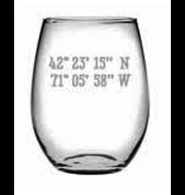 ''BEAUFORT, SC'' Long/Lat Stemless Glass Wine, 21oz, SINGLE