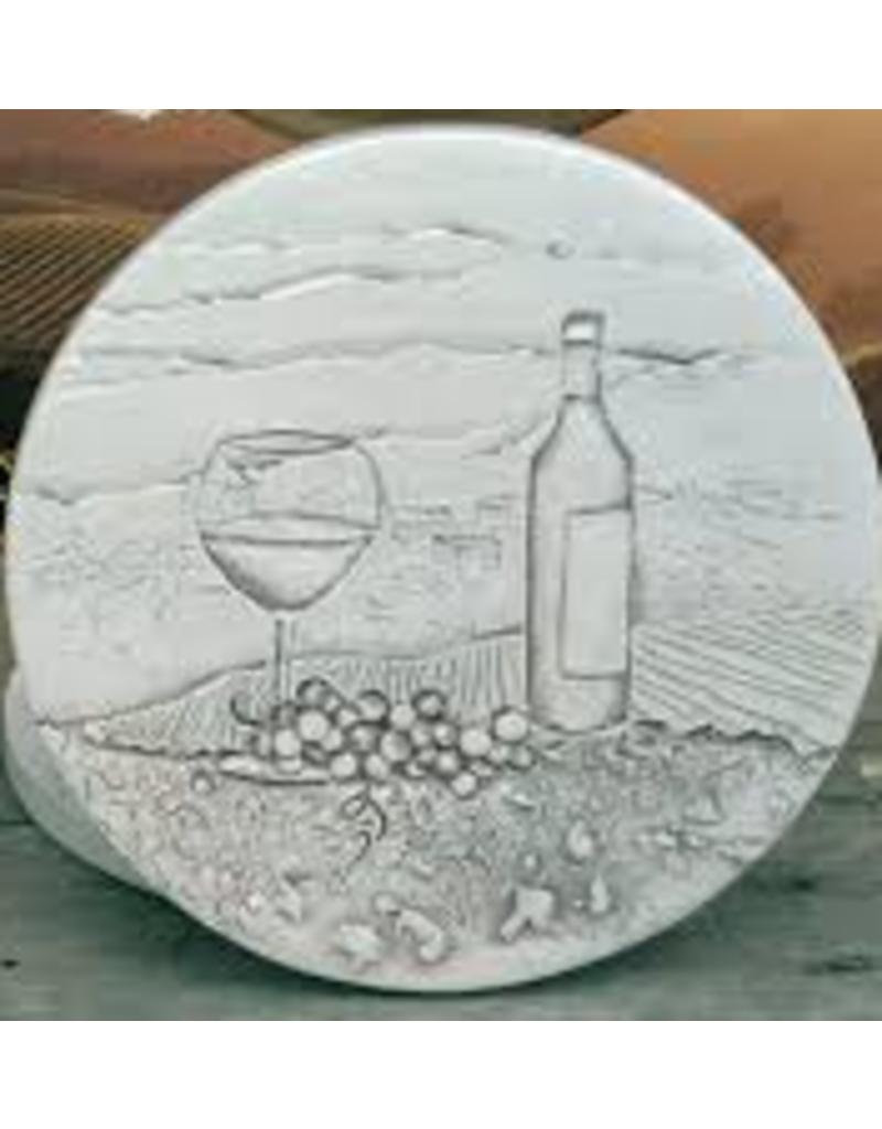 Hand-Crafted Absorbent Ceramic Coaster, Wine & Bottle, SINGLE
