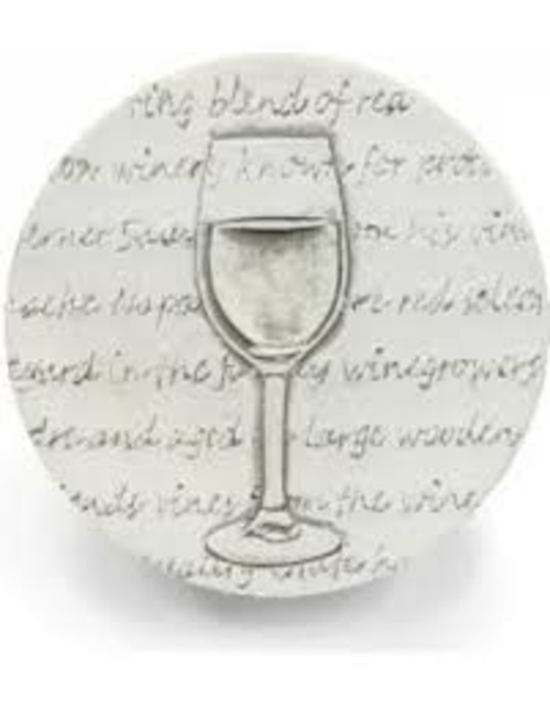 Hand-Crafted Absorbent Ceramic Coaster, White Wine Glass, SINGLE
