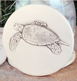 Hand-Crafted Absorbent Ceramic Coaster, Sea Turtle, SINGLE