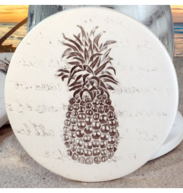 Hand-Crafted Absorbent Ceramic Coaster, Pineapple, SINGLE