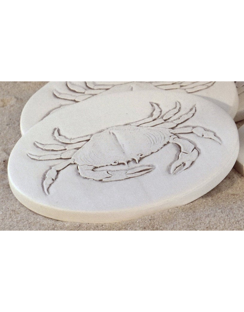 Hand-Crafted Absorbent Ceramic Coaster, Crab, SINGLE