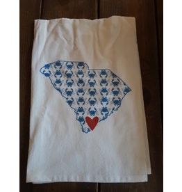 Coast & Cotton Dishtowel Hometown Heart BLUE CRABS  with ''Beaufort SC''