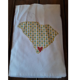 Coast & Cotton Dishtowel Hometown Heart PINEAPPLES  with ''Beaufort SC''
