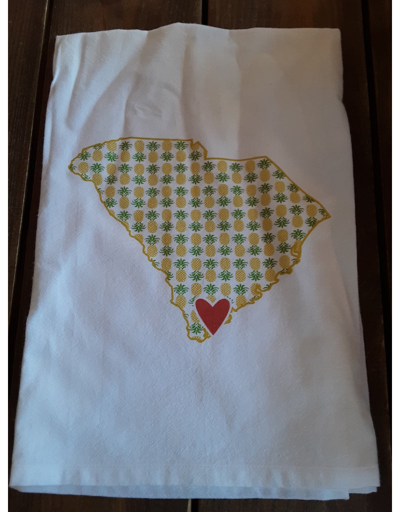 Coast & Cotton Dish towel Hometown Heart PINEAPPLES  with ''Beaufort SC''