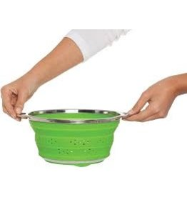 """Harold Imports Collapsible Colander, green, silicone, 9.5"""""""