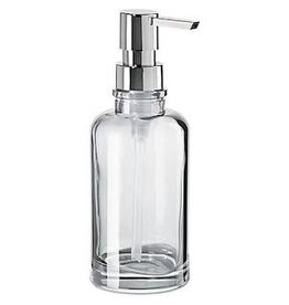 Oggi Round Glass Soap/Lotion Dispenser Pump, Clear (7'' H, 12oz)