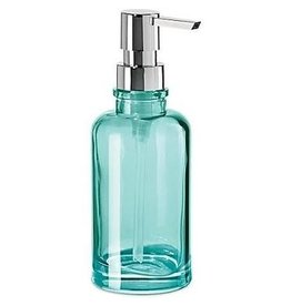 Oggi Round Glass Soap/Lotion Dispenser Pump, Aqua (7'' H, 12oz)
