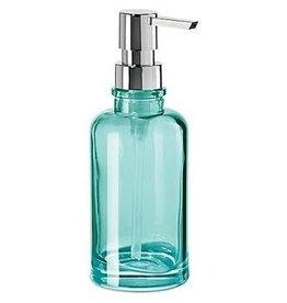 Oggi RoundGlass Soap/Lotion Dispenser Pump, Aqua (7'' H, 12oz)