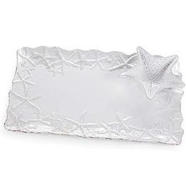 Mudpie Starfish Chip and Dip Platter, White, 10x16