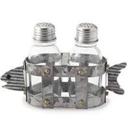 Mudpie Tin Fish Salt & Pepper Shaker Set